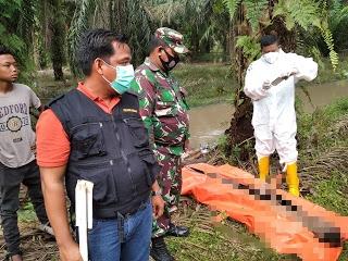 Mayat tanpa identitas yang ditemukan warga di parit yang berada di kebun sawit Desa Buluh Manis, Kecamatan Bathin Solapan, Kabupaten Bengkalis.(ist)
